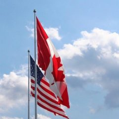 Canada US flags